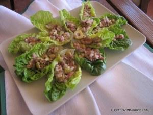 Crostata de gerds y figues i barquetes d'amanida amb ceba tendra 012